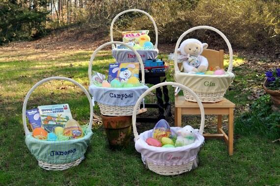 Easter Basket With Monogrammed Easter Basket Liner Choose From