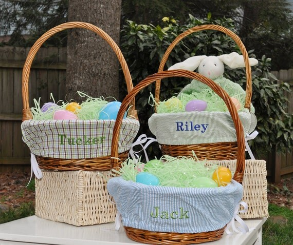 BOYS Monogrammed Easter Basket Liner-Choose from 14 Fabrics
