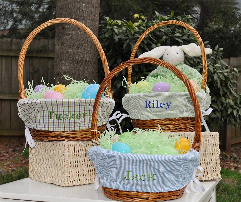 Boys Monogrammed Easter Basket Liner Choose From 14 Fabrics