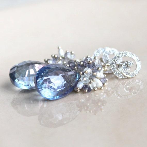 EAU--Mystic Periwinkle Blue Topaz and Rice Pearl Earrings