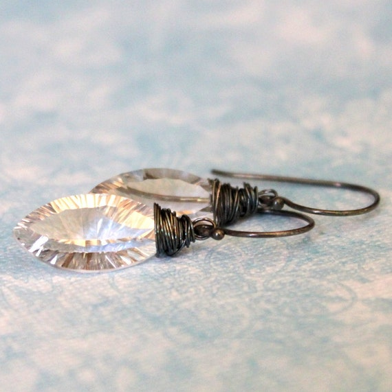 SALE-ICE--Faceted Crystal and Oxidized Sterling Silver Earrings