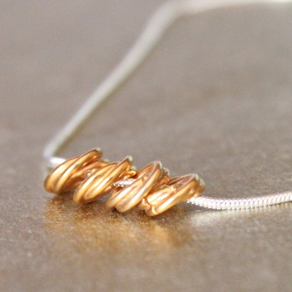 GILDED RINGS--Gold Fill Rope Spacer Beads and Sterling Silver Chain