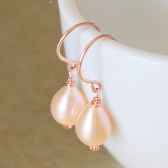 Rose Gold Pearl Earrings, Bridal Jewelry, Bridesmaid Jewelry - ROSE