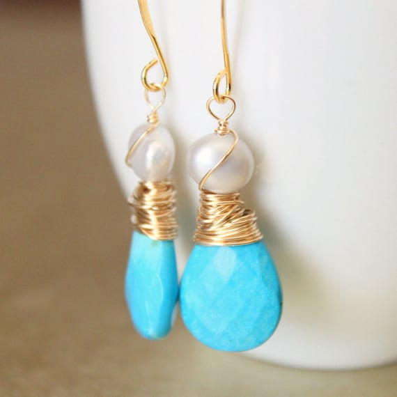 Turquoise Earrings Sleeping Beauty Sky Blue Turquoise Gold Earrings Nature Inspired Southwestern Luxury Wirewrapped Gemstone Jewelry