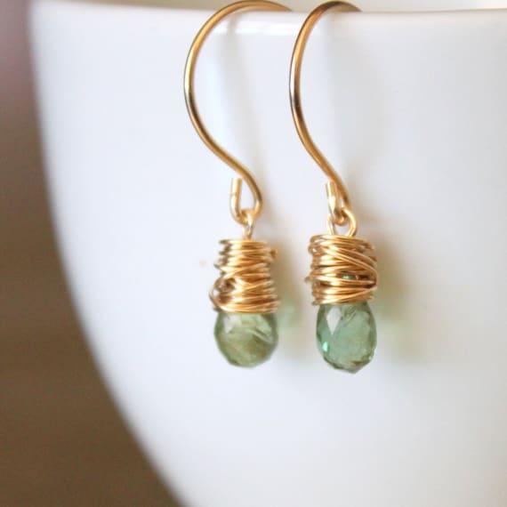 Green Peridot Earring Gold Fill Wirewrapped
