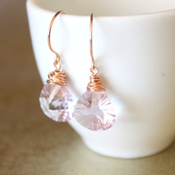 Rose Gold Pink Amethyst Earrings-Bridesmaid Gift, Bridal Jewelry