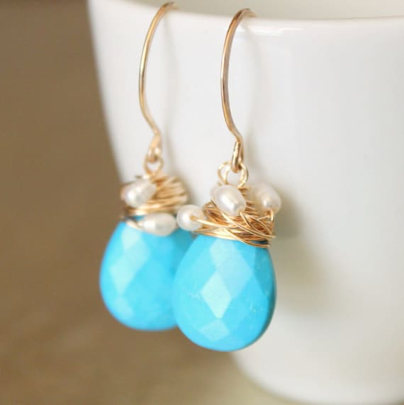 Turquoise Earrings Sleeping Beauty Turquoise Rice Pearl Luxury Gemstone Jewelry by Truly Enchanted