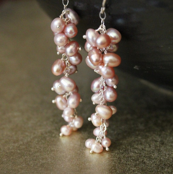 SALE--Bridal Jewelry - Pearl Earrings, Pink Freshwater Potato Pearls Romantic Sterling Silver Earrings