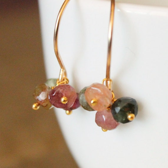 Tourmaline Earrings, Multicolor Gemstone Jewelry, Bridesmaid Earrings for Bridal Party