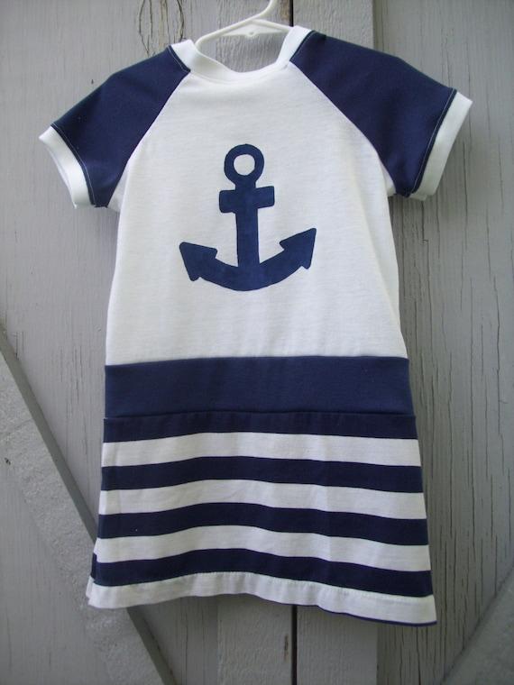 Upcycled T-shirt dress- Blue Sailor Girl- 3T