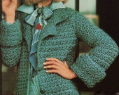 INSTANT DOWNLOAD PDF Vintage Crochet Pattern   Star Stitch Belted Coat  Jacket  Retro
