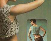 INSTANT DOWNLOAD PDF Vintage Crochet Pattern     Silver Bolero Cropped Top  Retro