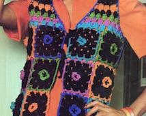 Free Crochet Granny Square Vest Patterns : Popular items for granny square vest on Etsy