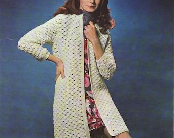 INSTANT DOWNLOAD PDF Vintage Crochet Pattern   1970s Coat Jacket Retro
