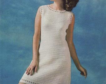 INSTANT DOWNLOAD PDF Vintage Crochet Pattern  1960s Summer Shift Dress Retro