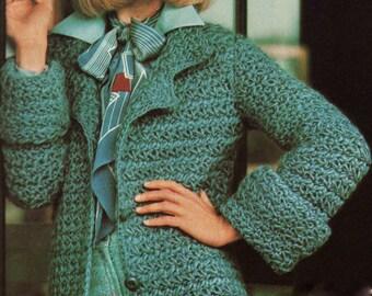 INSTANT DOWNLOAD PDF Vintage Crochet Pattern   Star Stitch Belted Coat  Jacket  Retro