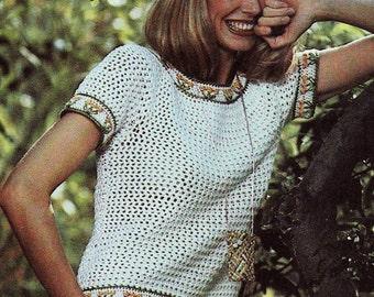 INSTANT DOWNLOAD PDF Crochet Pattern  Flower Border Tee  T-Shirt  Vintage Blouse