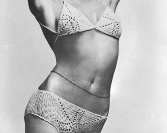 INSTANT DOWNLOAD PDF Vintage Crochet Pattern    Bikini   Retro