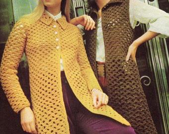INSTANT DOWNLOAD PDF Vintage Crochet Pattern   Coat or Waistcoat  Vest  1970s Retro