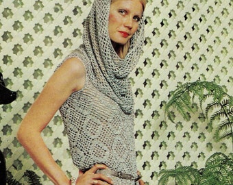 INSTANT DOWNLOAD PDF Vintage Crochet Pattern     Silver Maxi Dress with separate Cowl Hood  Retro