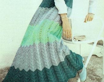 INSTANT DOWNLOAD PDF Vintage Crochet Pattern    Ripple Maxi Skirt  Retro