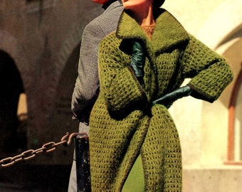 INSTANT DOWNLOAD PDF Knitting Pattern  Coat Jacket    1960s Vintage Retro