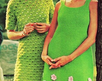 Vintage Crochet Pattern  Flower Trimmed Dress and Shell Pattern Mini Shift Dress  Retro INSTANT DOWNLOAD PDF