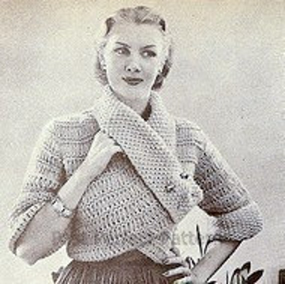 INSTANT DOWNLOAD  PDF  Knitting Pattern Two Ways to Wear it Jacket  Vintage Revamp