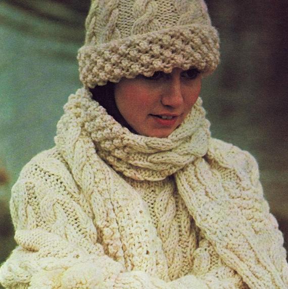 INSTANT DOWNLOAD PDF Vintage Knitting Pattern Aran Sweater