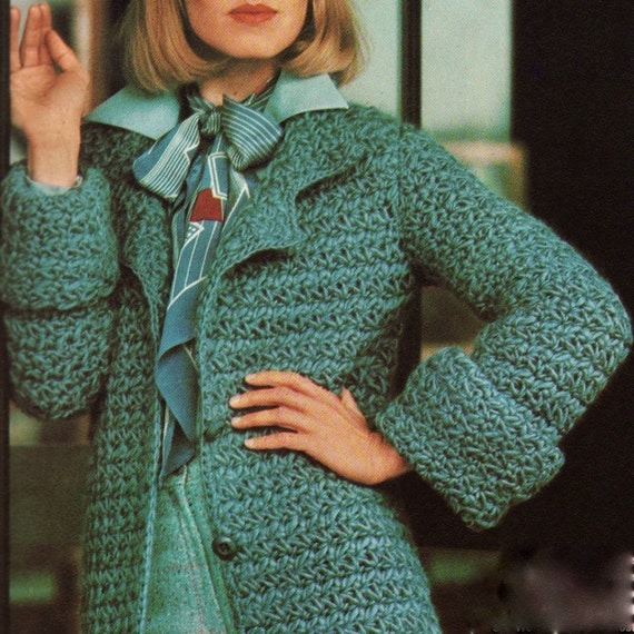 Crochet Stitches Uk Pdf : INSTANT DOWNLOAD PDF Vintage Crochet Pattern Star Stitch Belted Coat ...