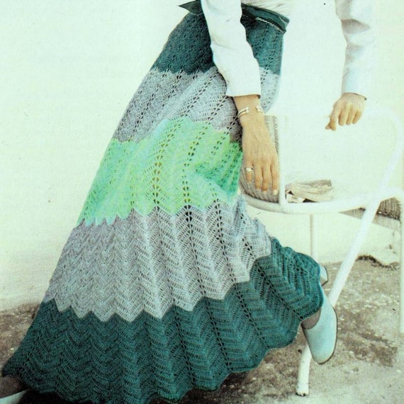 INSTANT DOWNLOAD PDF Vintage Crochet Pattern    Ripple Maxi Skirt  Retro