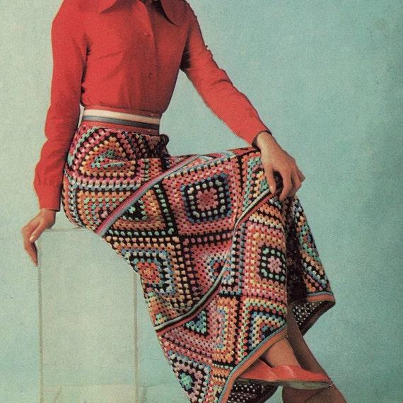 INSTANT DOWNLOAD PDF  Vintage Crochet Pattern   Granny Squares Maxi Skirt  Retro Boho Festival