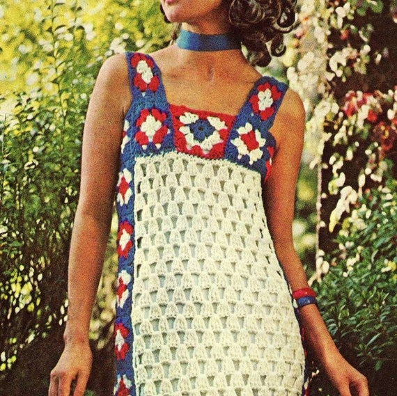INSTANT DOWNLOAD PDF Vintage Crochet Pattern  At Home Maxi Dress Retro Granny Squares