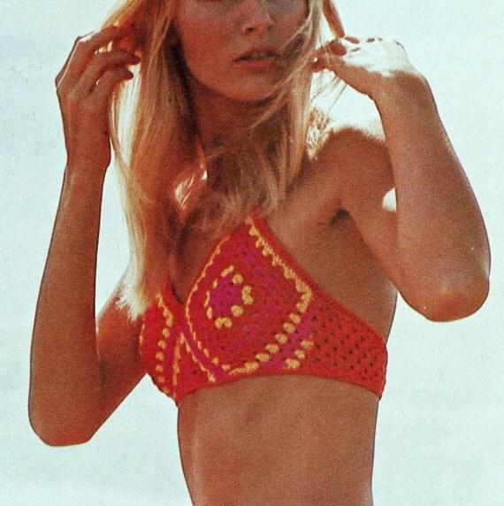 INSTANT DOWNLOAD PDF Vintage Crochet Pattern    Granny Squares Bikini  1970s Retro
