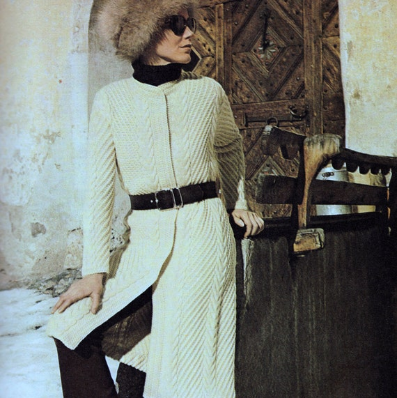 INSTANT DOWNLOAD PDF Vintage Knitting Pattern  Elegant Aran Coat  Retro
