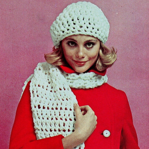 INSTANT DOWNLOAD PDF Crochet Pattern  Bulky Beret Hat and Scarf   Vintage Retro