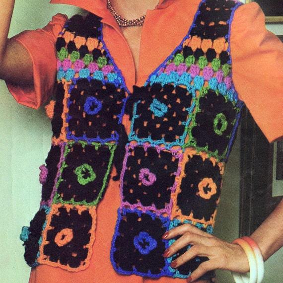 Crochet Granny Square Vest Pattern : INSTANT DOWNLOAD PDF Vintage Crochet Pattern Flower Granny