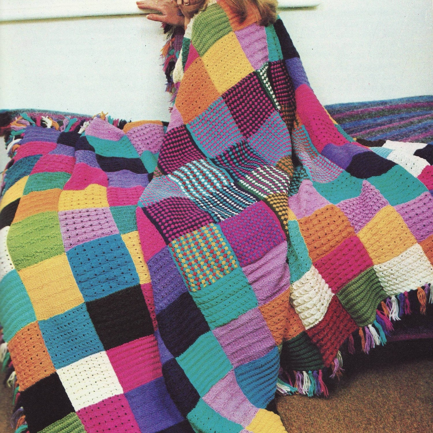 Knitting Patchwork Quilt Patterns : Instant download pdf knitting pattern for squares patchwork