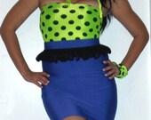 High Waist Pencil skirt, ruffle, & top set ...SOLID ROYAL/Polka Dots...