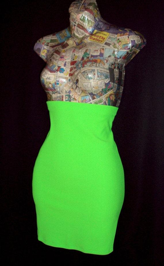 High Waist Pencil Skirt ...BRIGHT Neon Green...