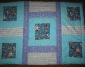 """Rocket ships and Space - Boy quilt blanket - 32"""" x 43"""""""