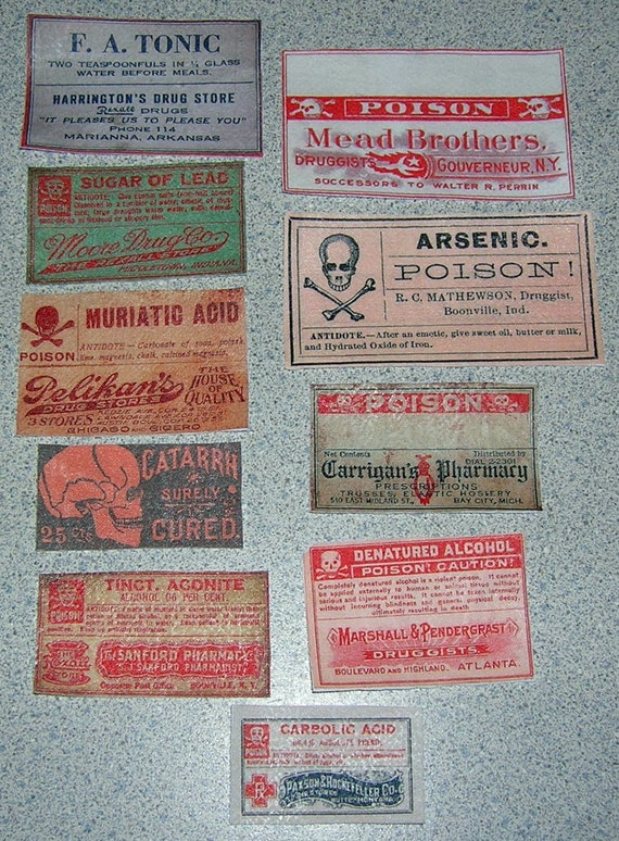 Set of 11 Old Apothocary Drug and Advertising Cloth Labels - Set 12