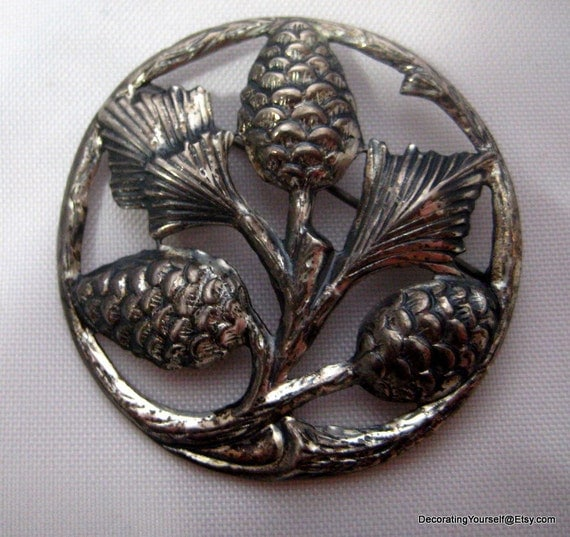Sterling Silver Pinecone Brooch Large Round Evergreen