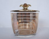 Vintage 60s Mid Century Mod Ice Bucket with FLOWER HANDLE by Anchor Hocking