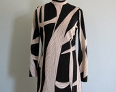 Vintage 70s Tunic - Vera Neumann Black and White Print Top M