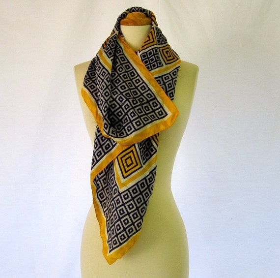 Vintage 50s Navy and Gold Square Silk Scarf by GLENTEX