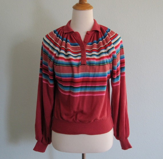 Vintage 70s Sweater - Pink Striped Henley with Full Sleeves S M