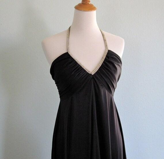 Vintage 70s Dress - Black Jersey Disco Halter with Rhinestone Straps S M