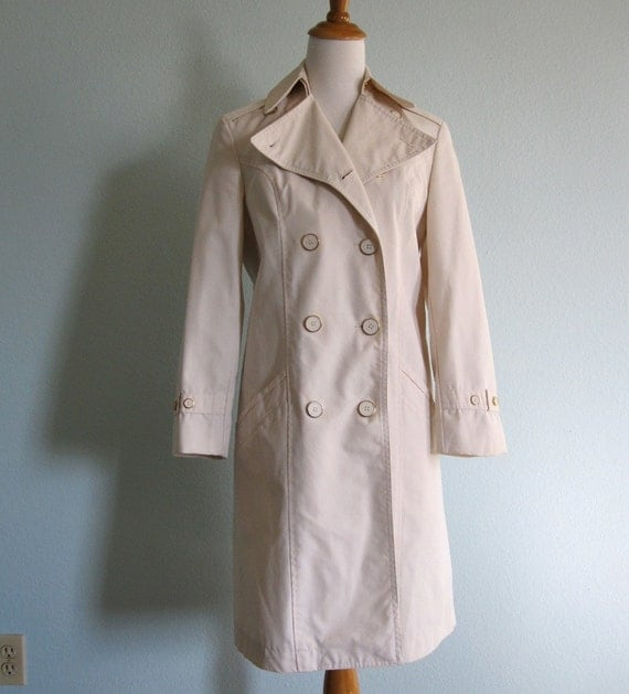 Vintage 60s Coat - Mod Winter White Trench Coat with Gold Buttons S M