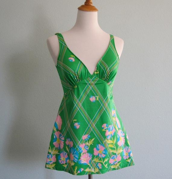 Vintage 70s Swimsuit - Bright Green Floral Skirt Suit M